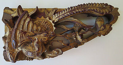 Chinese Wooden Architectural Panel Pheasant Hand Carved China Antique Red Gold