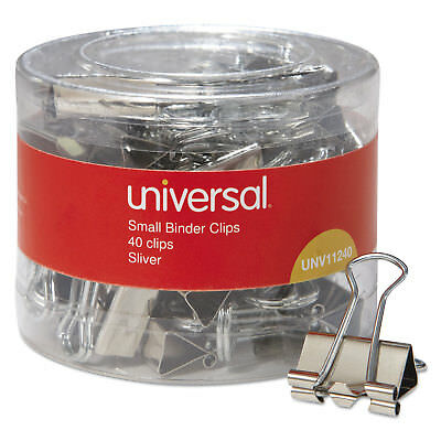 "Small Binder Clips, 3/8"" Capacity, 3/4"" Wide, Silver, 40 per Pack"