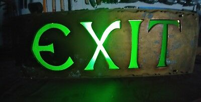 """Vtg 1927 Huge Lighted EXIT SIGN 9""""×26"""" ORPHEUM THEATER SEATTLE Orig Glass&Paint"""