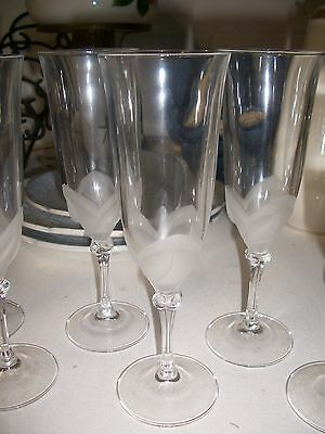 Set of 4 Cristal d ' Arques Florence Crystal Flute  Glass Frosted Flower Petal