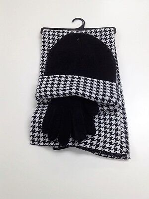 Black and White Herringbone Womens Hat Gloves and Scarf Set