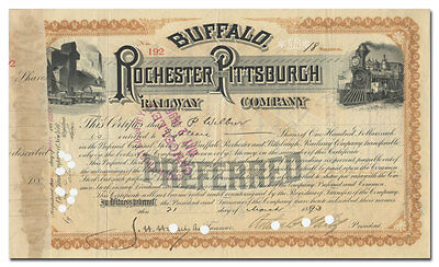 Buffalo, Rochester and Pittsburgh Railway Company Stock Certificate