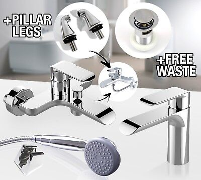 Modern Luxury Bathroom Set Chrome Bath Shower Filler Mono Bloc Basin Mixer Tap