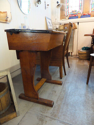 Antique Vintage Oak Wooden Desk School Style with Lid Top