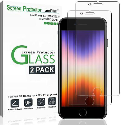 iPhone SE 2020 Screen Protector (2 Pack) amFilm Premium Real Tempered Glass Film