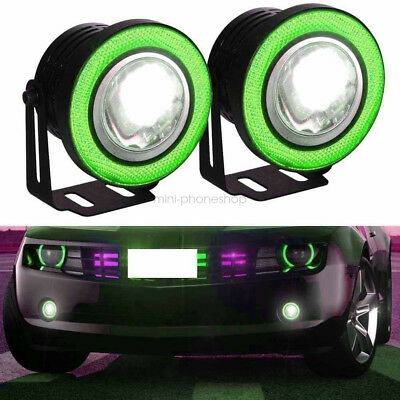 "2 Pcs 2.5"" Green COB LED Halo Angel Eye Rings Autos Fog Lights DRL Daytime Lamps"