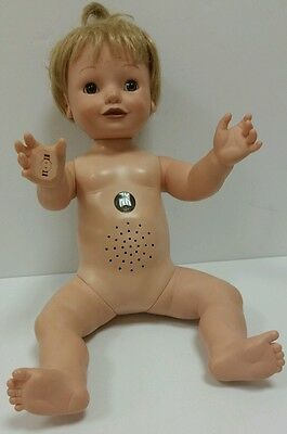 """Amazing Babies Playmate interactive toys Girl Baby doll 14"""" tall 2000 For CRAFTS"""