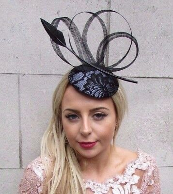 Black Charcoal Dark Grey Feather Pillbox Hat Fascinator Formal Ascot Races 4541