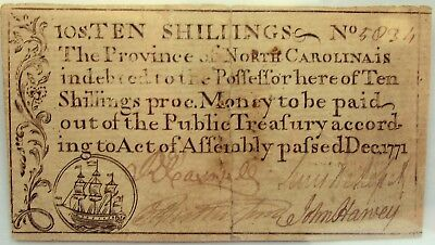1771 North Carolina 10 Shillings, PCGS GRADED VF30, very pleasing note!