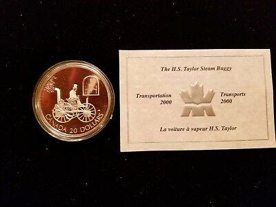 Transportation 2000 H S Taylor Steam Buggy Silver Proof $20 Dollar Canadian Coin