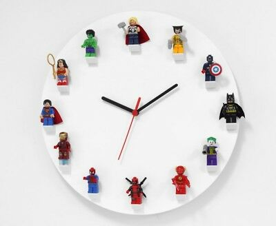 Lego Clock Acrylic Wall Clock Modern Lego Mini Figure Clock Kids Bedroom Round