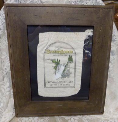 "Vintage Framed Cloth Sack~The Salish Lodge~Oatmeal-Spice Cake~12"" X 14"""