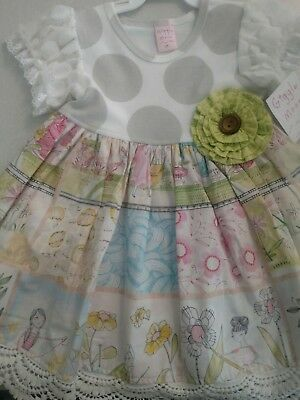 """NWT Giggle Moon """"Lilly Of The Valley"""" Greta Dress 3t"""
