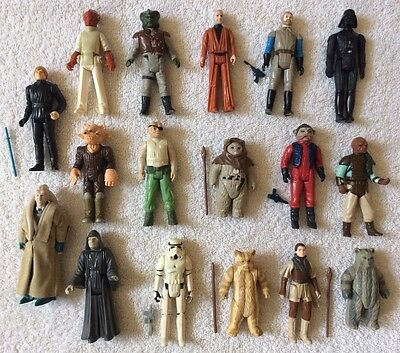 Vintage Star Wars Figures Lot of 17 in total inc Leia, Luke And Vader (Some RW)
