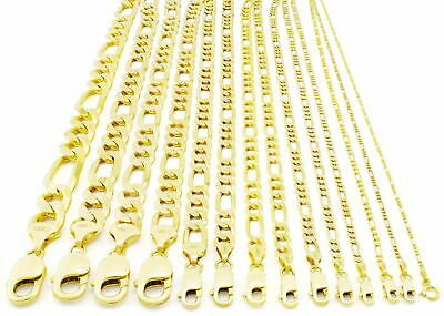 """10K REAL Yellow Gold SOLID 1MM-12MM Figaro Chain Necklace LInk Men Women 16""""-30"""""""