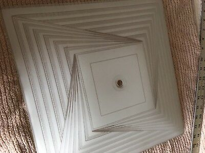 """Vintage Art Deco Frosted Stripe Pattern Ceiling Light Shade 14""""x14"""""""