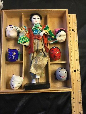 Vtg Japanese Mask-Dance Doll With 6 Masks -Original Wood Box