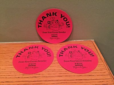 Lot of 3 Vintage Exxon ~ Rely on the Tiger ~ Thank You! Rubber Drink Coasters