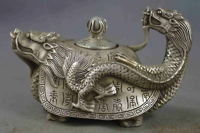 China Collectable Handwork Old Miao Silver Carve Dragon & Totem Exorcism Tea Pot