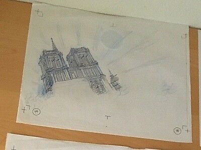 DISNEY ORIGINAL PENCIL DRAWING The Hunchback of Notre Dame BOOK-ART