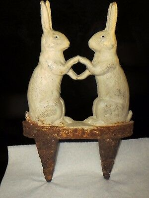Vintage Old Cast Iron Bunny Rabbits Garden Stake