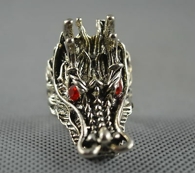 Collectable Handwork Decor Old Miao Silver Carve Roar Dragon Head Exorcism Ring