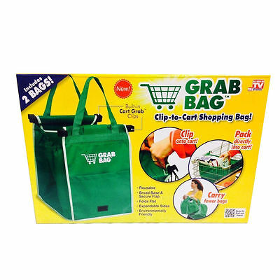 Grab Bag 2 Pac - Reusable Clip to Cart Shopping Bag - As Seen on TV