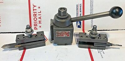 Aloris AXA Quick Change Tool Post & 2 Tool Holders w/ Tools, Machinist Free Ship