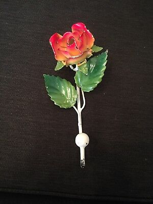 """Vintage TOLE WALL hook - Metal with Rose- Shabby Chic 50's-60's -6"""""""