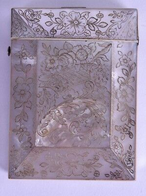 fine quality 19th c mother of pearl victorian card case - calling card - MOP