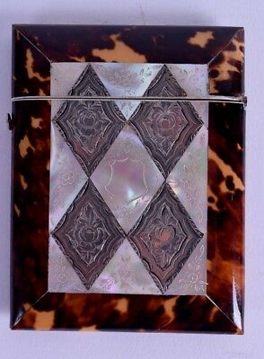 very fine 19th c mother of pearl silver victorian card case - calling card - MOP
