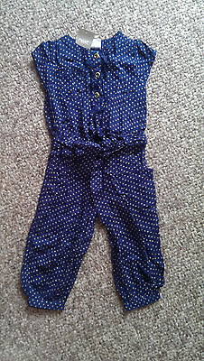 NEXT Gorgeous Navy Blue Playsuit with Gold Spots BNWT 2-3
