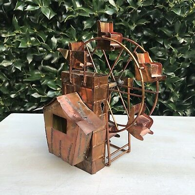 """Vintage Metal Copper Ferris Wheel Music Box Weathered Hammered 7.5"""" Tall"""