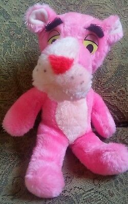 """1980 Vintage Plush PINK PANTHER 11"""" tall by MIGHTY STAR STUFFED ANIMAL TOY"""