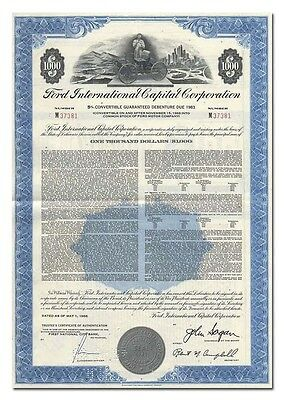 Ford International Capital Corporation Bond Certificate