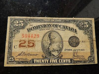 1923 Dominion Of Canada Shinplaster 0.25 Twenty Five Mccavour Saunders 594429