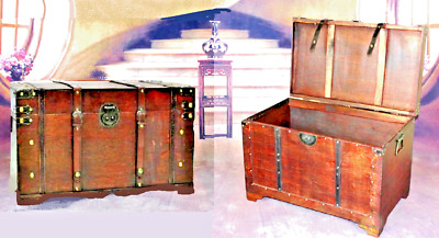 Vintage Large Wooden Treasure Chest Jewellery Box Case Pirate Antique Style Gift