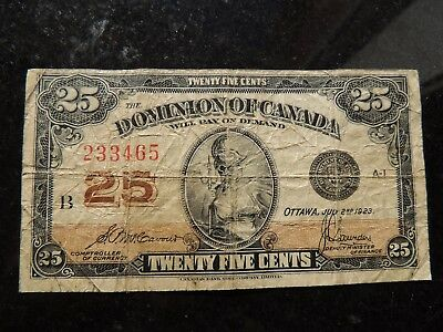 1923 Dominion Of Canada Shinplaster 0.25 Twenty Five Mccavour Saunders 233465