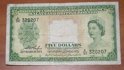 Malaya and British Borneo 1953 Five Dollar Currency Note