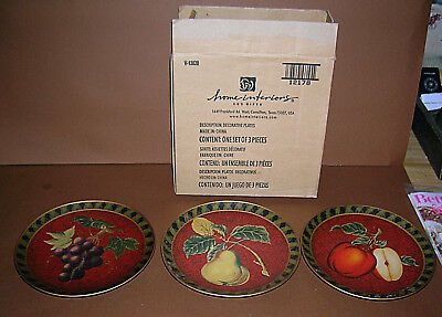 "Home Interiors ""Fruit Orchard Trio"" Decorative Accent Plates Apples Grapes Pears"