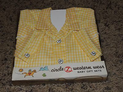 New Vintage Baby Gift Set~Yellow CIRCLE Z WESTERN WEAR cowboy jeans shirt 0-6 mo