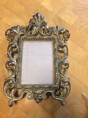 Large Antique Heavy Metal Victorian Picture Frame With Devil Face Ornate