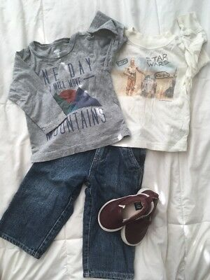 Old navy Childrens Place Gap 12-18m Outfit Star Wars, Mountain, Jeans, T5 Slipon