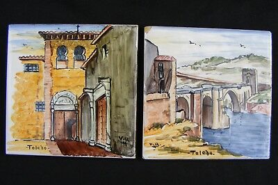 "Vtg ""Toledo Mission & Alcantara Bridge"" 4""x4"" Wall Art Décor Tile Trivet Lot/Set"