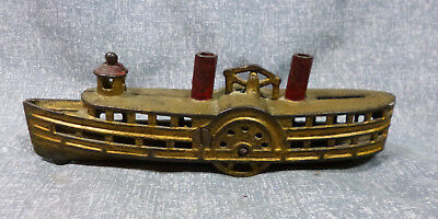 Antique Cast Iron A.C. Williams Steamboat Bank  ca. 1912-1920's