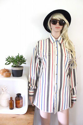 Wrangler denim shirt mens cowboy style striped long sleeve button up collared M