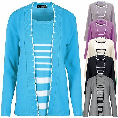 New Womens Twin Set Striped Knitted Winter Cardigan Jumper Long Sleeves Top