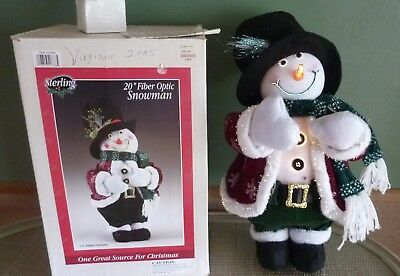 05 sterling fiber optic snowman christmas decoration 20 in orig box color wheel