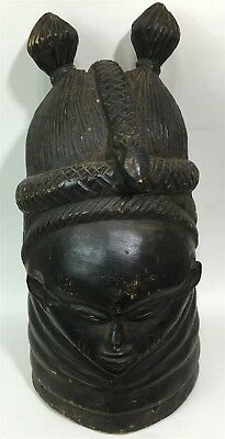 Antique RARE African Tribal Carved Mende Helmet Mask