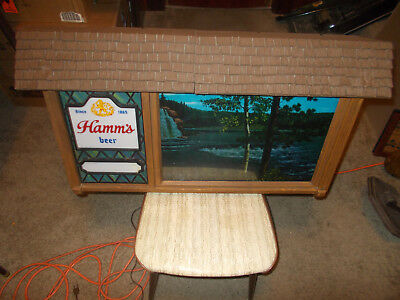Hamms Beer Campsite Waterfall Scroll Motion Sign Works Great Man Cave